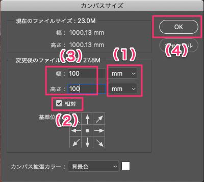 画像の周りに白枠を付けるためにもう一度、[カンバスサイズ]ダイヤログボックスを表示して、次のように操作する。