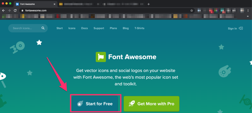 Font Awesomeにアクセスする